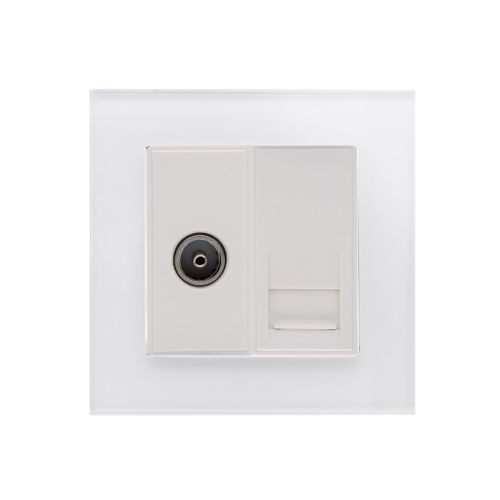 RetroTouch Crystal TV/BT Master Tel Socket White Glass PG 04072